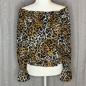 XOXO Off the Shoulder Leopard Blouse